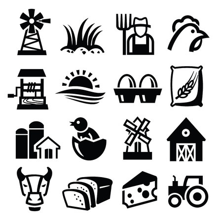 mills: vector black farm icon set on white