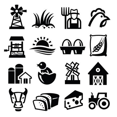 tractores: vector icono negro de la granja ubicado en blanco