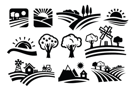granja caricatura: vector negro iconos de la naturaleza fijados en blanco