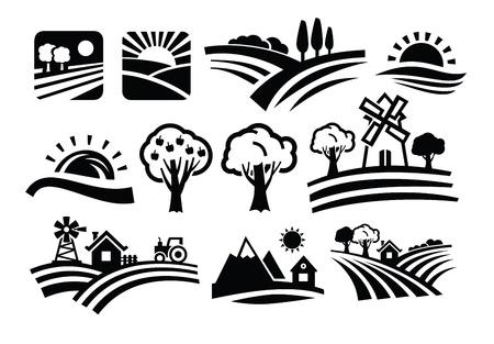 vector zwarte natuur pictogrammen instellen op een witte Stock Illustratie