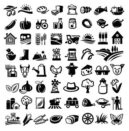 fruit cartoon: vector black farm icon set on white