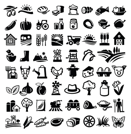 tractors: vector black farm icon set on white