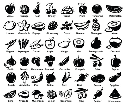 citrus fruits: vector black fruits and vegetables icon set on white Illustration