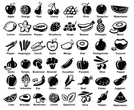 onion slice: vector black fruits and vegetables icon set on white Illustration