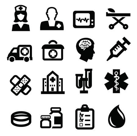скорая помощь: черный Медицинский набор иконок на белом