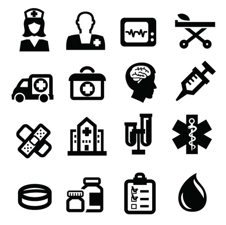 ambulancia: Icono médico negro ubicado en blanco