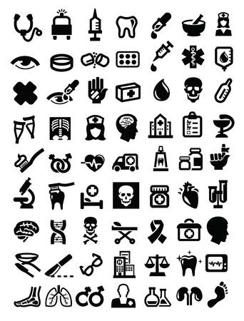 Icône médicale noir fixé sur blanc Banque d'images - 21787662