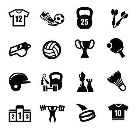 black sport icons set on white Stock Vector - 21998564