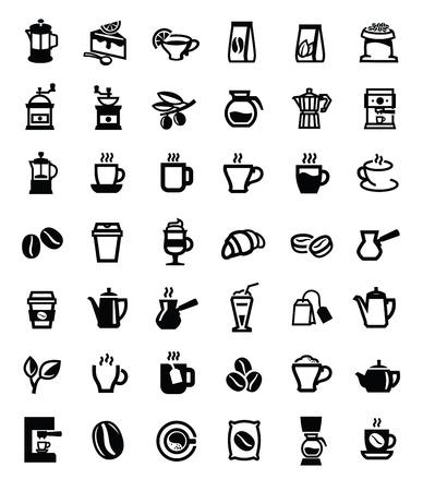 latte coffee: black coffee and tea icons set on white