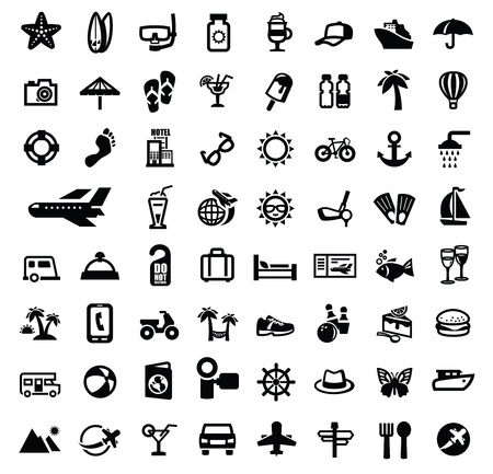 black travel icon set on white Vector