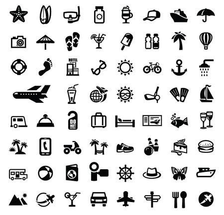 travel icon: zwart reizen icon set op wit Stock Illustratie