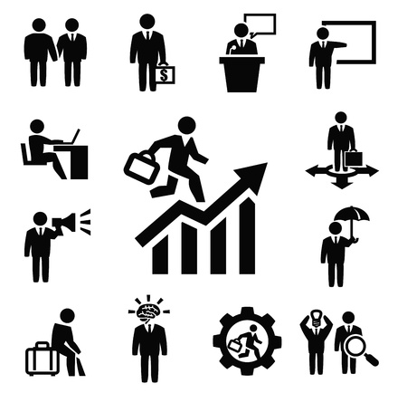 seminar: black business persons icons set on white