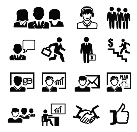 black business persons icons set on white Vector