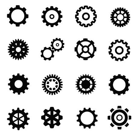 dag: black gearwheel mechanism icon set on white Illustration