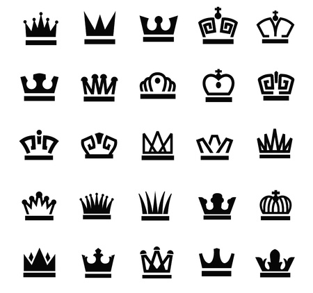 royal crown: black crown icons set on white Illustration