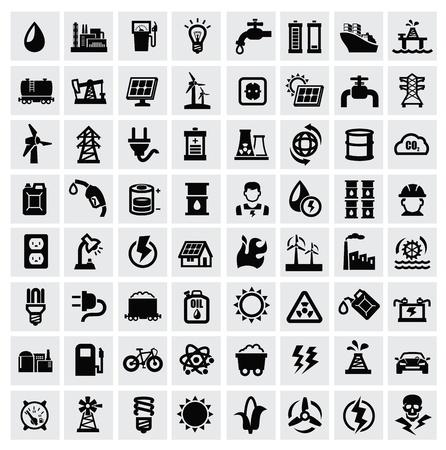 pila: iconos vectoriales de energía conjunto negro sobre fondo gris