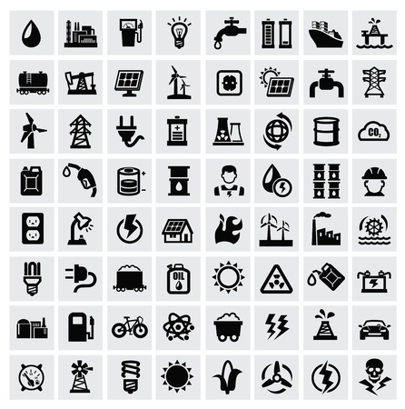 industrial icon: vector black energy icons set on gray Illustration