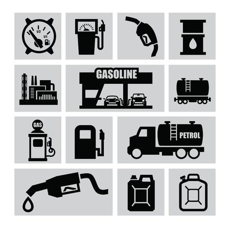 tanque de combustible: aceite negro de vectores y los iconos de gasolina establecidos en gris Vectores