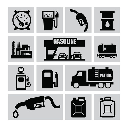 gas icon: vector black oil and petrol icons set on gray Illustration