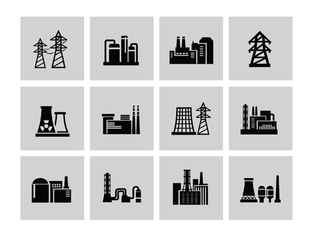 vector black building factory icon set on white Vector
