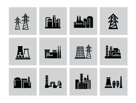 dangerous construction: vector black building factory icon set on white