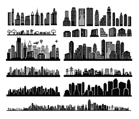 skyscrapers: vector black city icons set on white