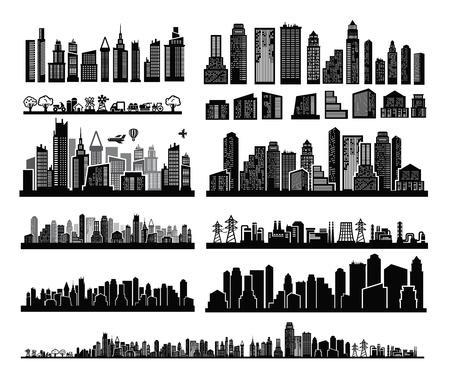 vector zwarte stad pictogrammen instellen op wit