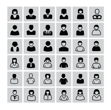 Vektor schwarze Menschen Icons auf weiß