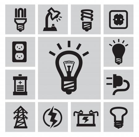vector black bulbs icons set on gray
