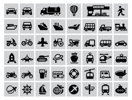 vector black transportation icon set on gray Vector