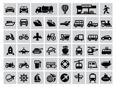 transportation icon: vector black transportation icon set on gray Illustration