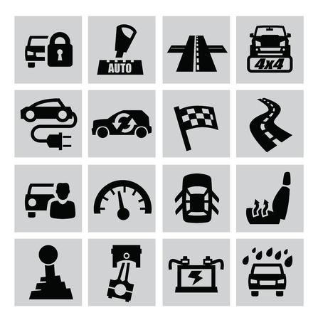 motor racing: vector black auto icons set on gray