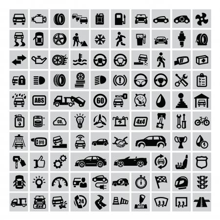 reparation automobile: vecteur noir ic�nes automobiles �tablis sur le gris