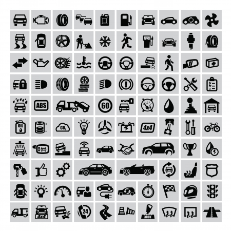 automotive repair: vector black auto icons set on gray