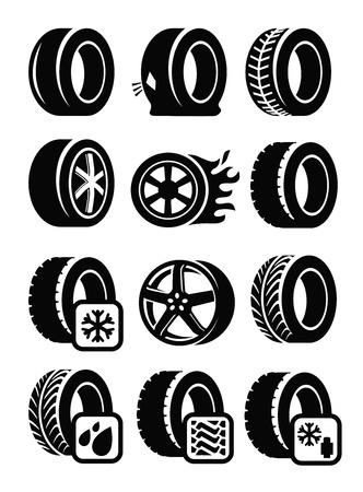 piezas coche: iconos vectoriales de neumáticos negros establecidos en gris Vectores