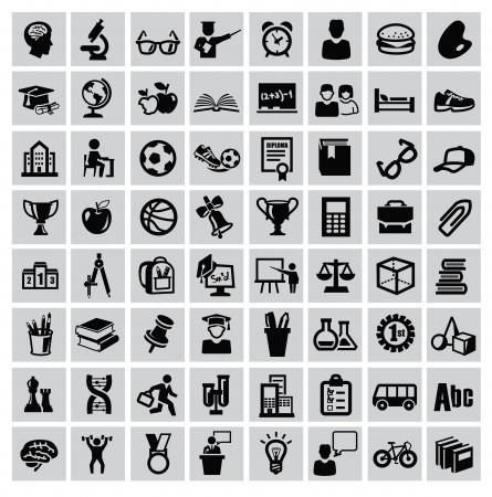 study icon: iconos vectoriales educativos conjunto negro sobre fondo gris Vectores