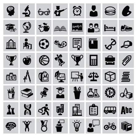 vector black education icons set on gray Ilustração