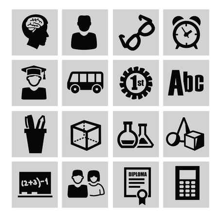 vector black education icons set on gray Illustration