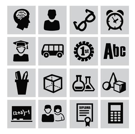 vector zwarte onderwijs pictogrammen instellen op grijs