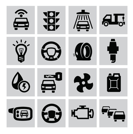 motor oil: vector black auto icons set on gray