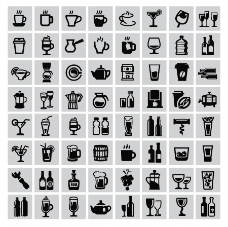 vector black beverages icon set on gray Vector