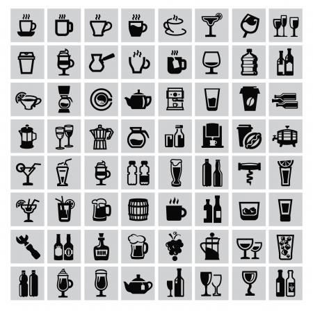 coke: vector black beverages icon set on gray