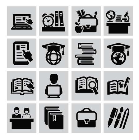 vector black education icons set on gray Stock Vector - 22173846