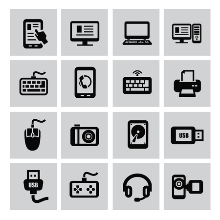 vector black of electronic devices icon set Иллюстрация