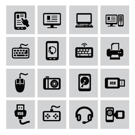 Vector negro de dispositivos electrónicos icon set Foto de archivo - 22173849