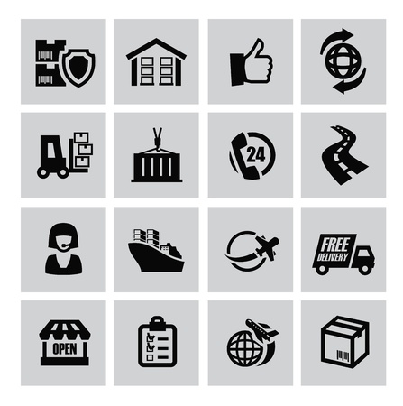 vector black logistic and shipping icon set Vector