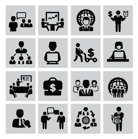 comunicazione: affari nero set di icone vettoriali su grigio