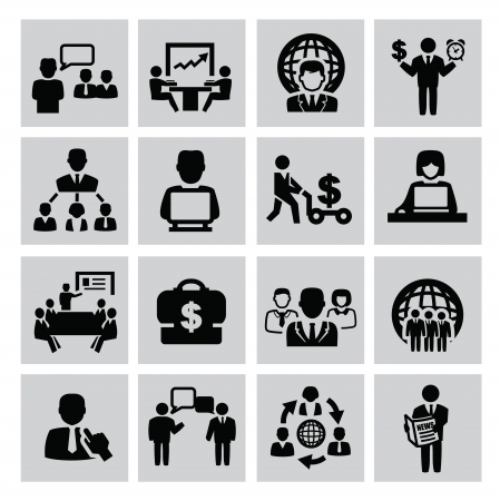 business people meeting: vector black business icon set on gray Illustration
