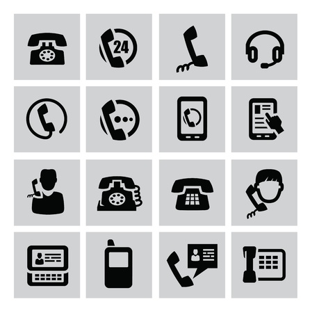 landline: vector black phone icons set on gray Illustration