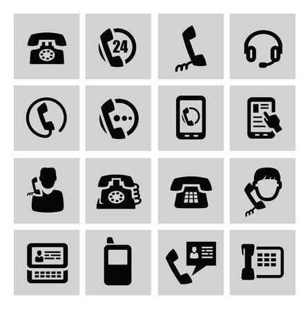 vintage telefoon: vector zwarte telefoon pictogrammen instellen op grijs Stock Illustratie